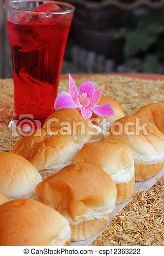 Filling baked bread custard - csp12363222