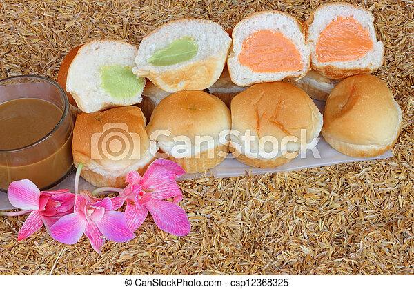 Filling baked bread custard  - csp12368325