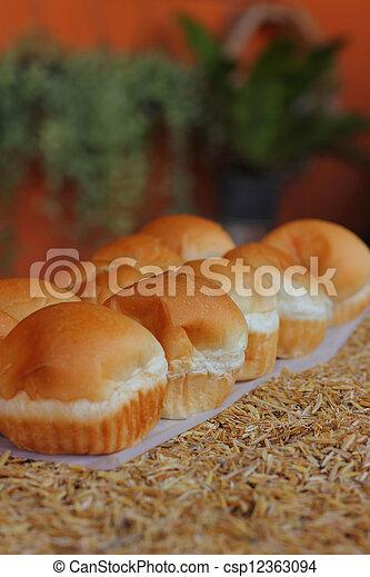 Filling baked bread custard  - csp12363094
