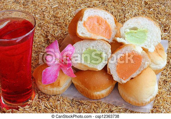 Filling baked bread custard  - csp12363738