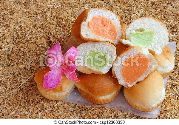 Filling baked bread custard  - csp12368330