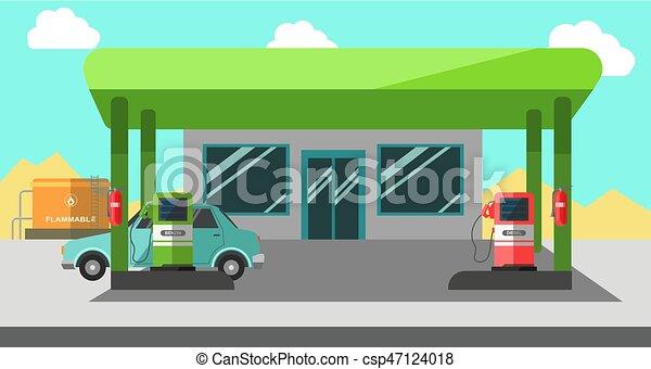 Filling station working colorful vector illustration in flat design - csp47124018