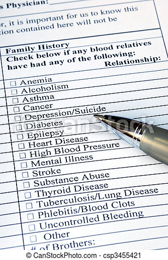 Filling the Family History section in the medical history questionnaire  - csp3455421