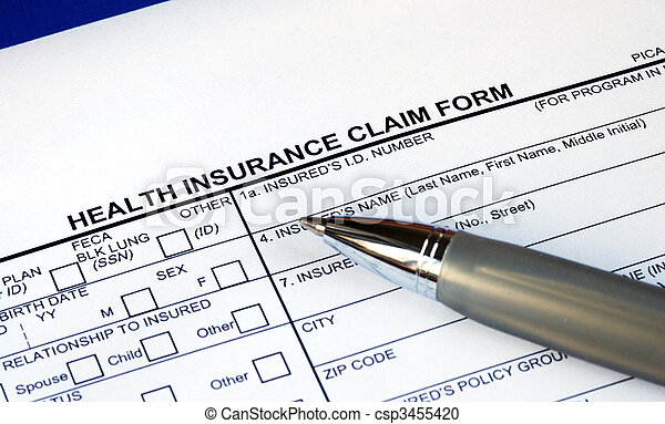 Filling the health insurance claim form isolated in blue - csp3455420
