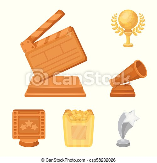 Film awards and prizes cartoon icons in set collection for design. The World Film Academy vector symbol stock web illustration. - csp58232026