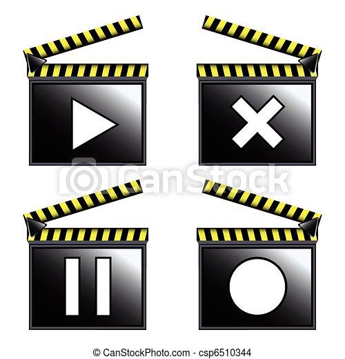film, bardeau, cinéma, icônes - csp6510344