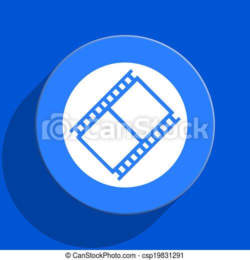 film blue web flat icon - csp19831291