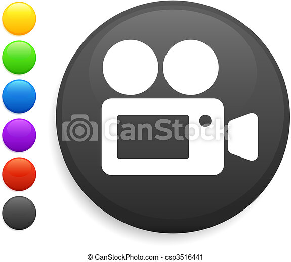 film camera icon on round internet button - csp3516441