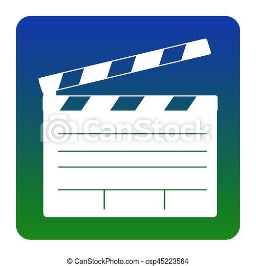 film clap board cinema sign vector white icon at clip art rh canstockphoto com