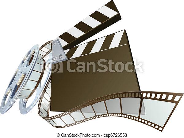 Film clapperboard and movie film re - csp6726553