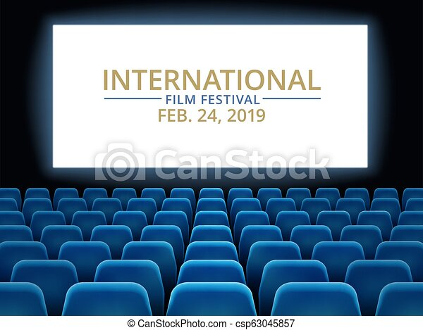 Film Festival Movie Theater Hall With White Screen Cinema International Festival Vector Background