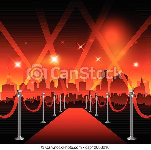 film, hollywood, czerwony dywan - csp42008218