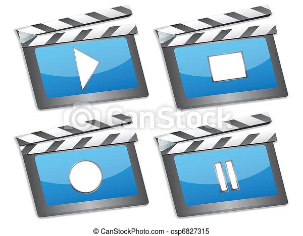 film, icônes, bardeau, cinéma - csp6827315