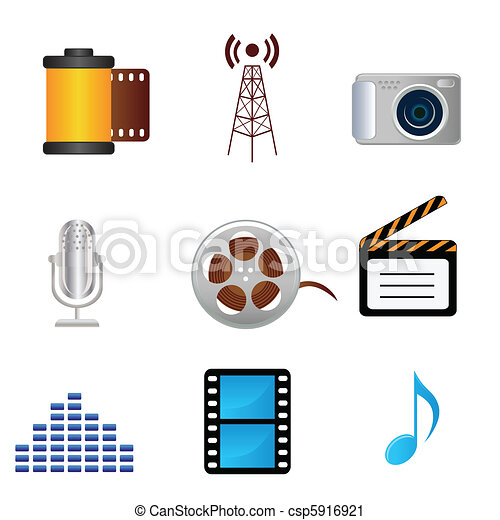 Film, music, photography media icons - csp5916921
