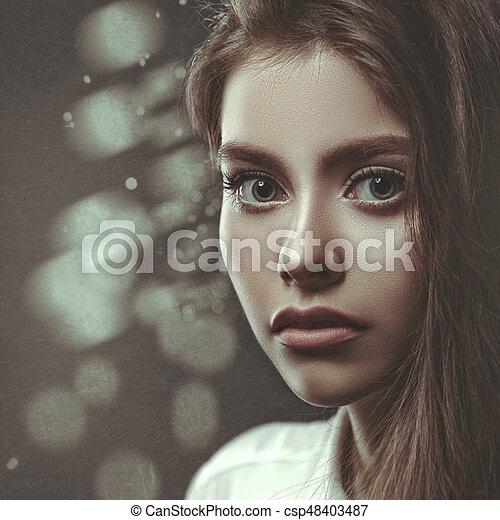 Film noir, beauty female portrait, grungy style - csp48403487