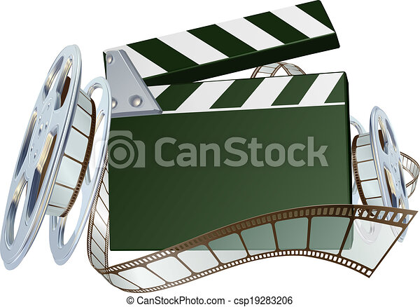 Film reel and clapper board background - csp19283206