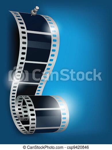 Film reel on blue backgorund - csp9420846