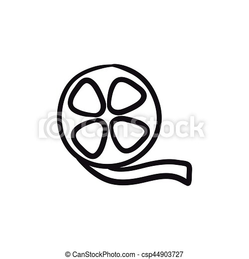 film reel sketch icon film reel vector sketch icon isolated on rh canstockphoto com Old Movie Reel Projector Movie Reel Clip Art