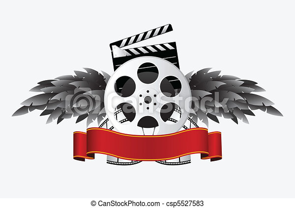 Film Reel With Banner Wing