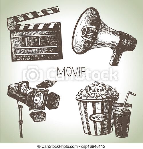 Film und Film. Hand gezeichnete Illustrationen - csp16946112