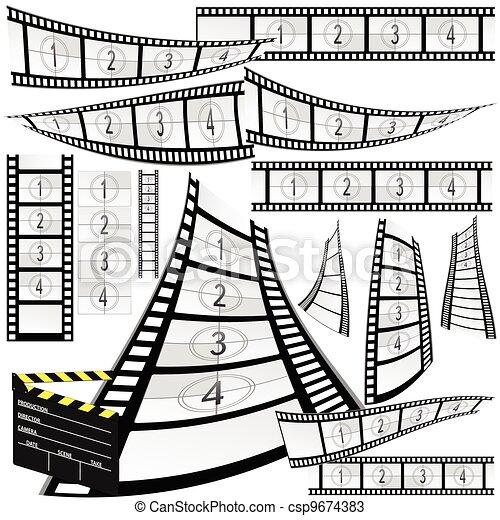 film strip and movie clipper vector - csp9674383