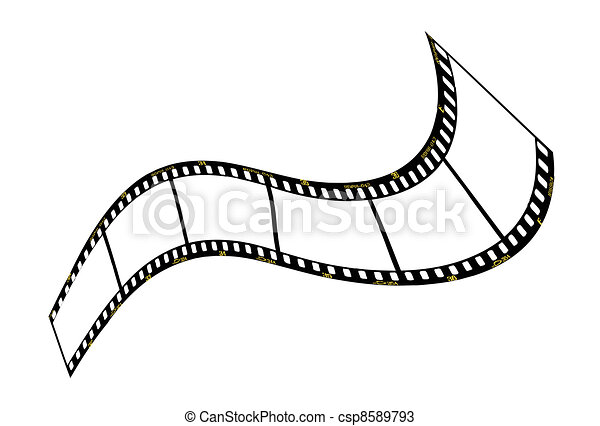 Warped film strip with wavy style, with film frame number and details .