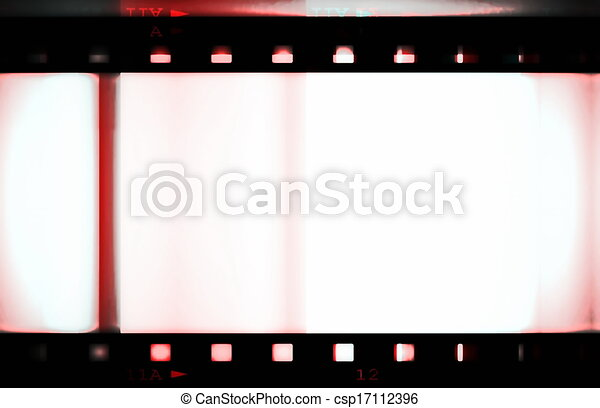 Blank colorful film strip frame isolated on white background.