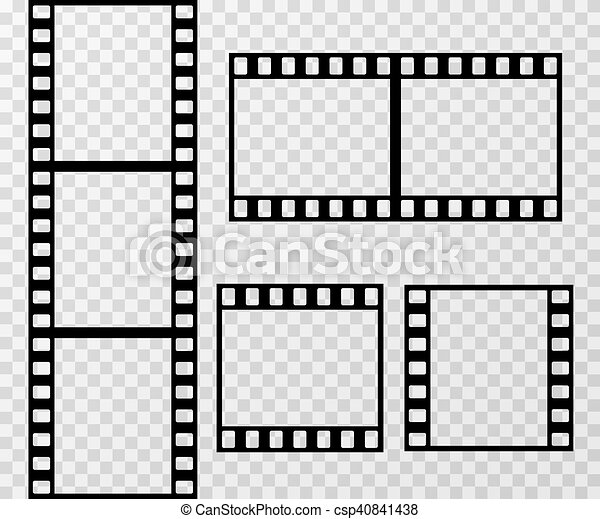 Film strip photo frame vector template isolated on transparent ...