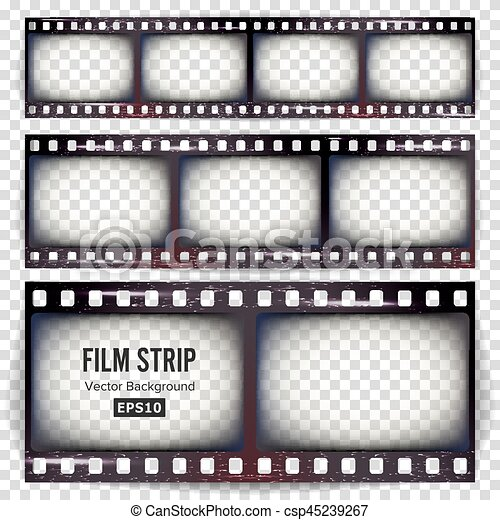 Film strip vector. set realistic frame strip blank scratched ...