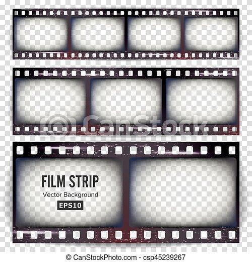 Film strip vector. set realistic frame strip blank scratched ...
