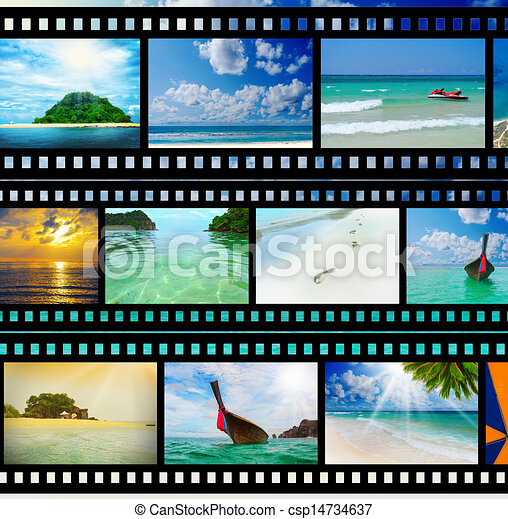 Film strip with beautiful holiday pictures - csp14734637