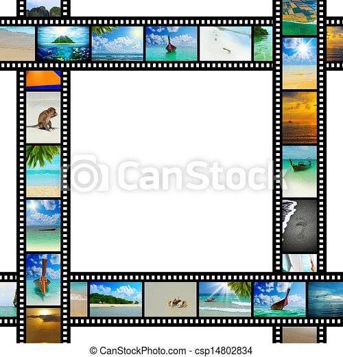 Film strip with beautiful holiday pictures - csp14802834