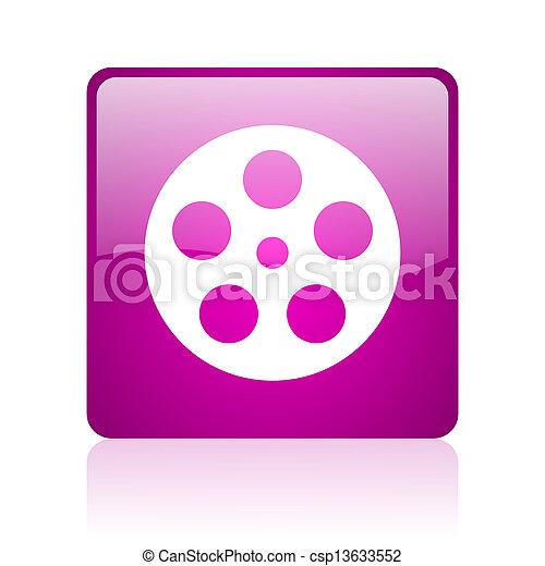 film violet square web glossy icon - csp13633552