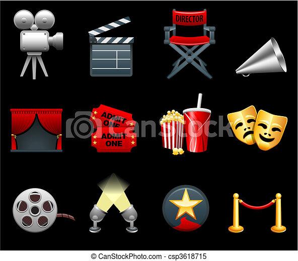 filmes, indústria, película, cobrança, ícone - csp3618715
