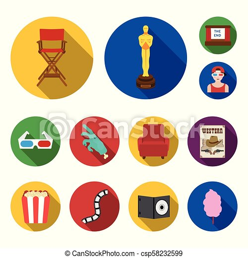 Films and cinema flat icons in set collection for designies and Attributes vector symbol stock web illustration. - csp58232599