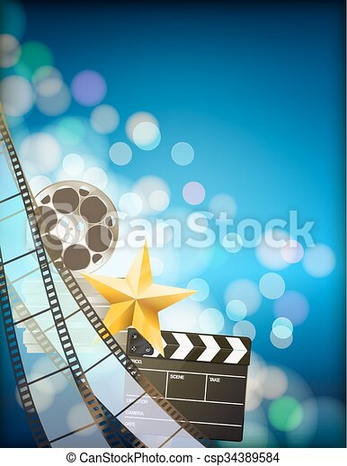 filmstrip background with clapper,reel,golden star and light effects on blue vertical background. vector - csp34389584
