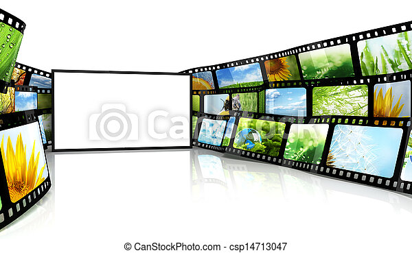 Filmstrip with blank TV - csp14713047