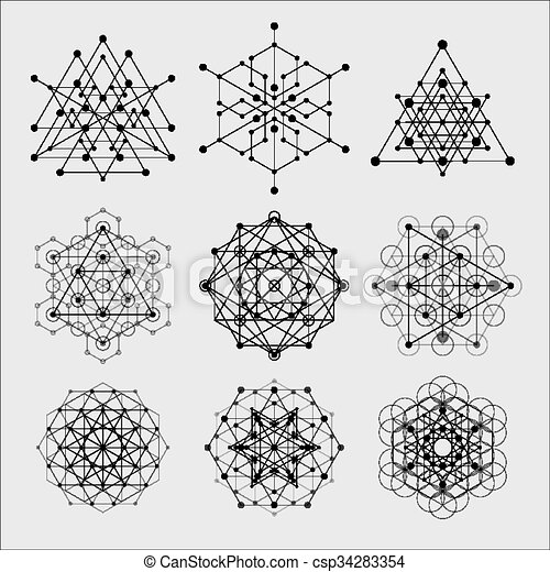 Diseños de vectores de geometría sagrados. Alquimia, religión, filosofía, espiritualidad, símbolos hipster y elementos. - csp34283354