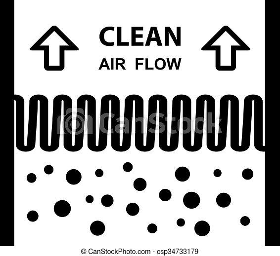 filtre, symbole, effet, air - csp34733179