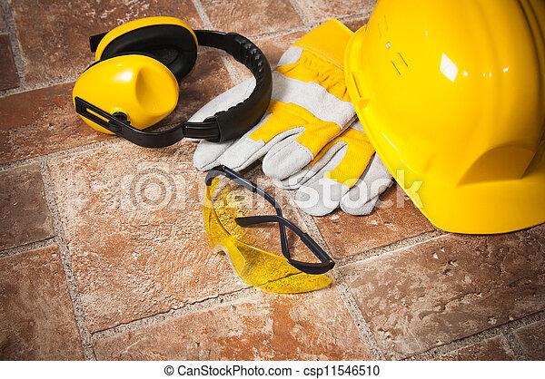 fim, equipamento, segurança, cima, engrenagem - csp11546510