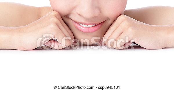 fim, menina, boca, cima, sorrindo - csp8945101