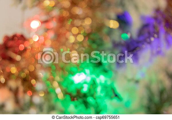 fin, arbre, -, festivités, bokeh, année, guirlandes, noël - csp69755651