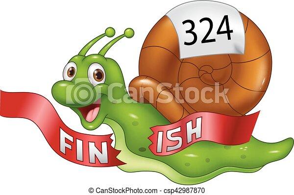 fin, caracol, ganador, cruces, solamente, línea, caricatura - csp42987870