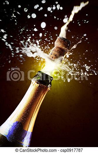 fin, champagne, haut, sauter, bouchon - csp0917787