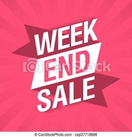 Estandarte de venta de fin de semana - csp37718686
