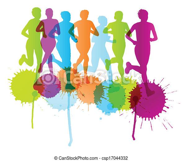Las mujeres ganadoras de maratón terminan el fondo vectorial y el grupo de corredores para el poster - csp17044332