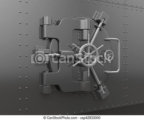 Fin, porte, chambre forte banque. Porte, illustration., render, fin ...