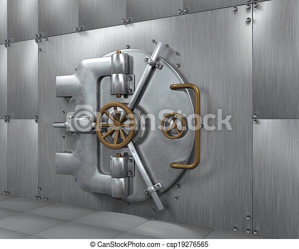 Fin, porte, chambre forte banque. Render, door., fin, voûte, banque, 3d.