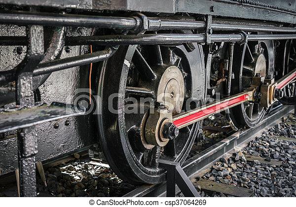 fin, roues, train, vieux, haut - csp37064269