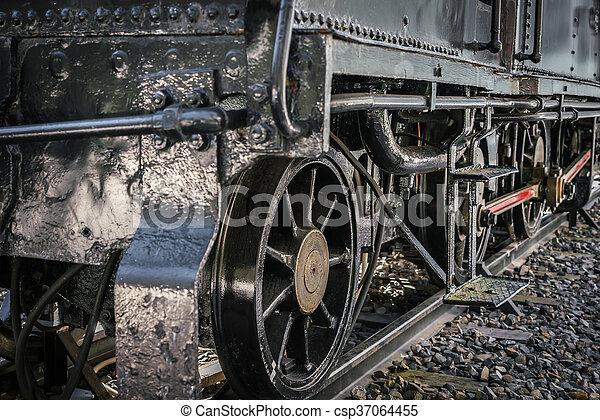 fin, roues, train, vieux, haut - csp37064455